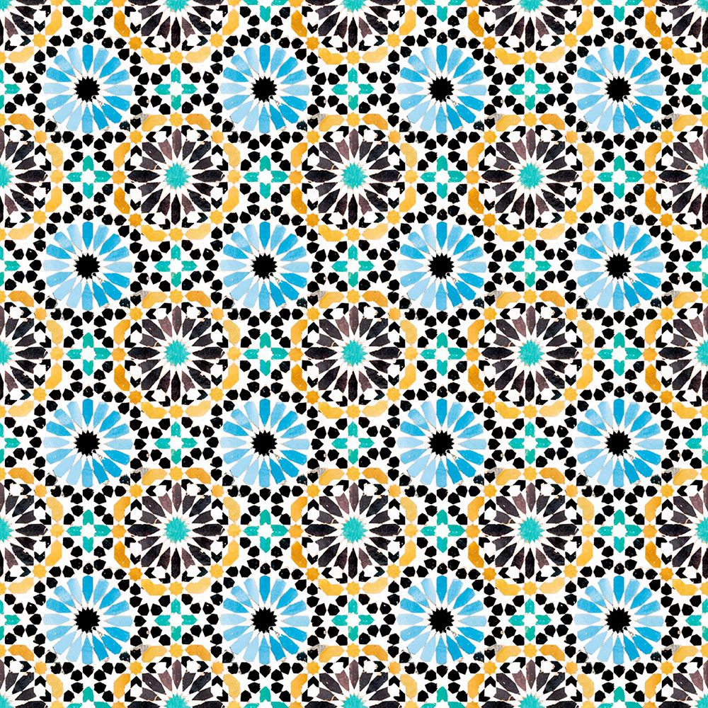 Moroccan Tiles by SK Filson Yellow and Blue Wallpaper