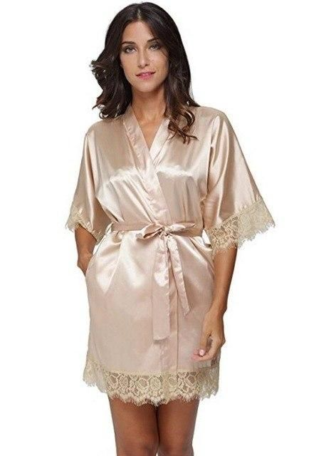 5c095da9a611d Sexy Bridesmaid Short Satin Bride Robe Lace Kimono Women Wedding ...
