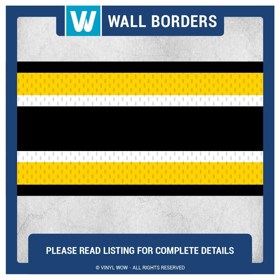 Wall Border Set - Sports Stripes (Black Yellow) - 16 ft x 6 in ...