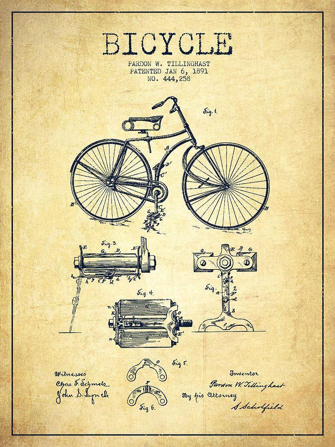 Bicycle Patent Drawing From 1891 Vintage Digital Art By Aged Pixel Patent Drawing Patent Art Patent Art Prints