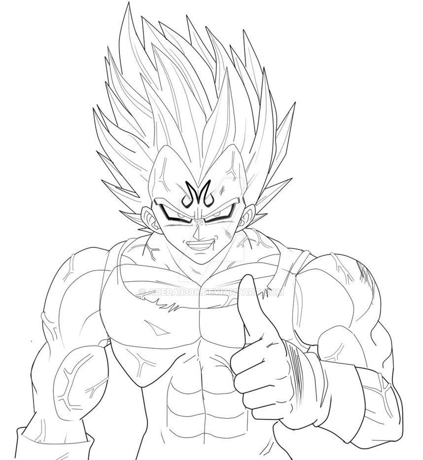 Fanart By Me Line Art Super Majin Vegeta Dragon Ball Artwork Dragon Ball Art Dragon Ball Super Art