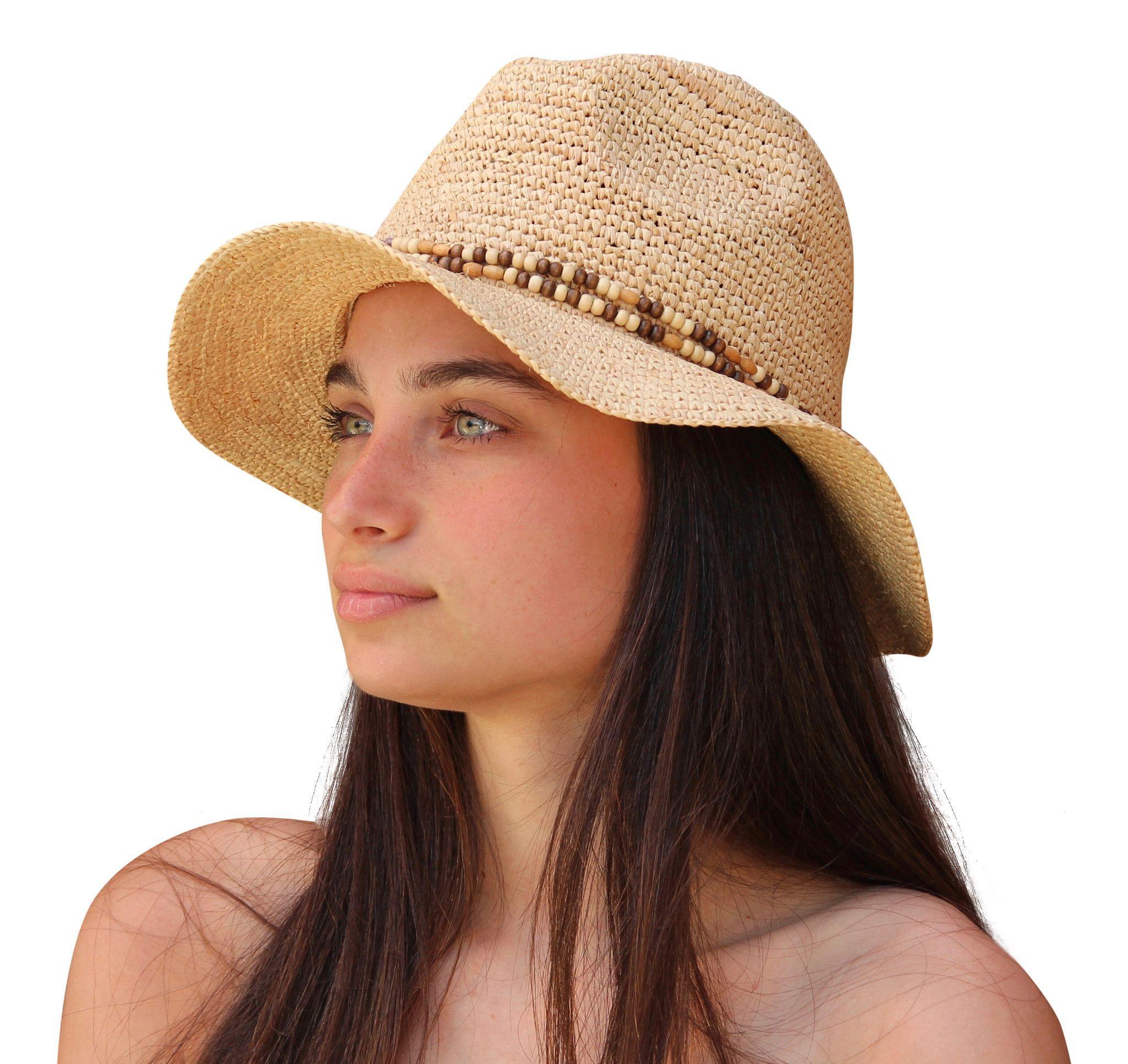 Palms & Sand Women\'s Raffia Fedora Sun Hat, Ladies Beach Hat ...