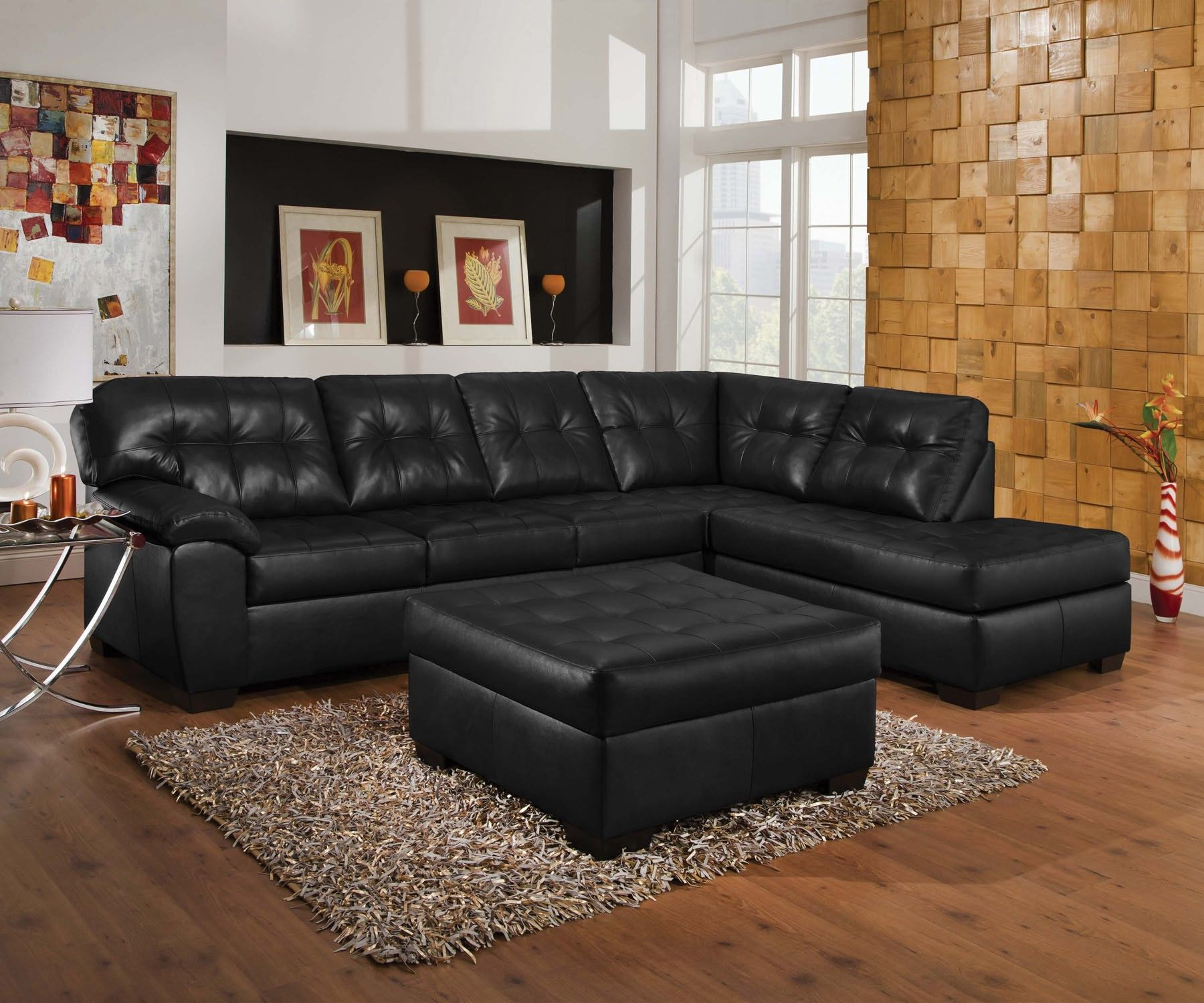 Living Room Furniture Tufted Black Genuine Leather Corner Sofa