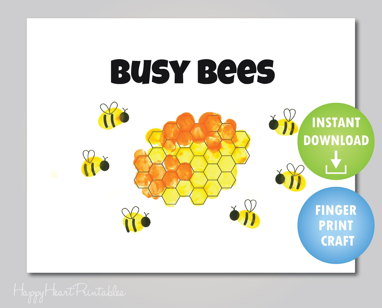 Fingerprint Bee Craft Printable Template
