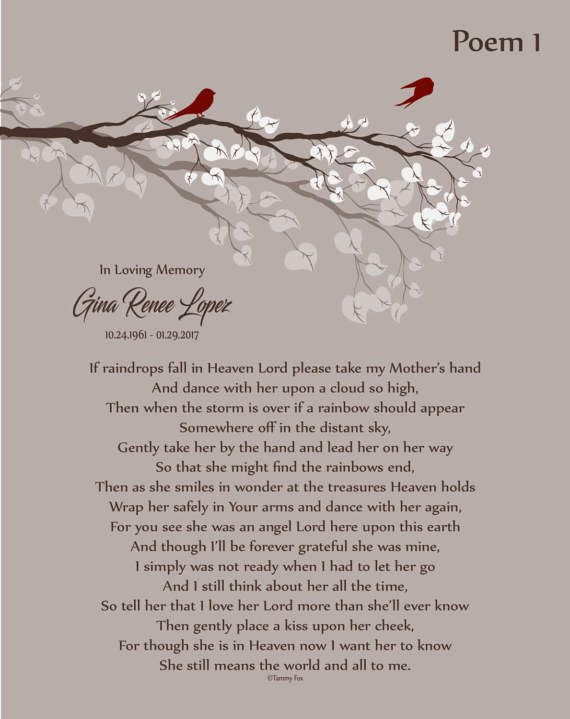 Loss of Mother-In Memory of Mom-Mother in Heaven-Personalized Memorial Print-Mom Memorial Poem-Remembrance Gift-Sympathy Gift-Choice of Poem