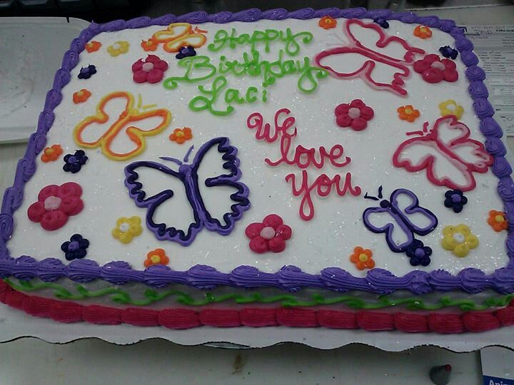 Sheet Cake With Flowers And Butterflies Sweet Sixteen Cakes