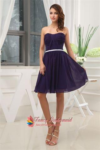 Dark Purple Short Bridesmaid Dresses, Knee Length Homecoming Dresses ...