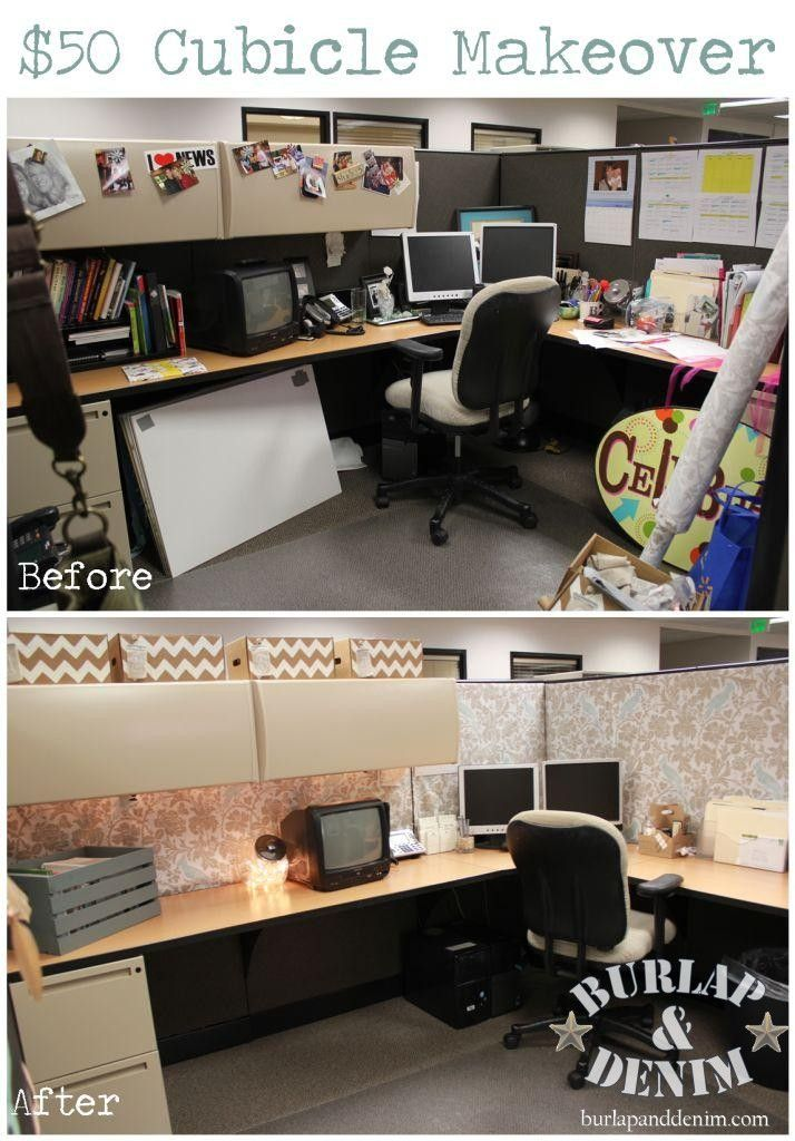 This is a cubicle makeover from burlap and denim i love for Nice office decor