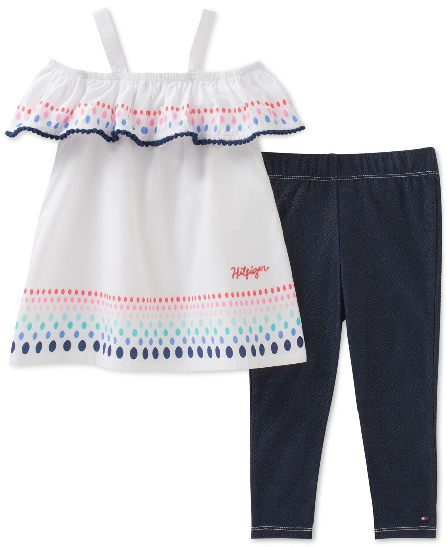 b3d87da8729 Tommy Hilfiger keeps her cute, comfy and stylish in this adorable cotton  peasant top and denim-look leggings set.