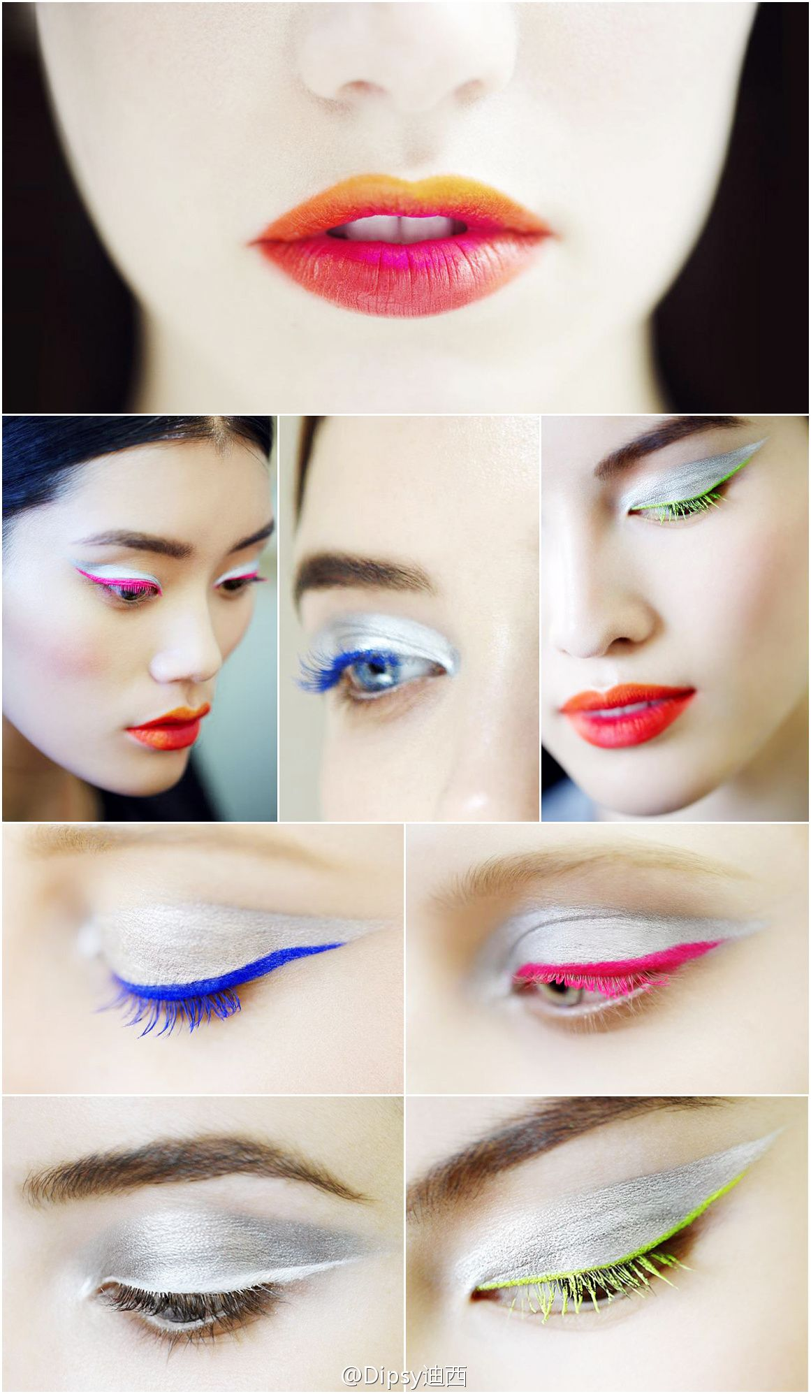 Romwe repin. :) I've never liked green mascara, but blue and hot pink are very pretty! I love the multicolor lips as well. :D
