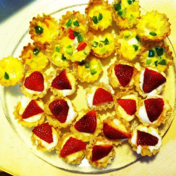 Mini Phyllo Quiche and Honey Strawberry Yogurt Cups