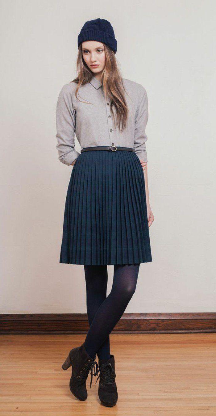 comment porter la jupe longue plissée? 80 idées! | bleu foncé