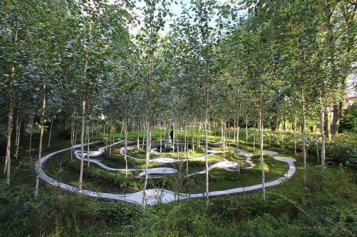 Birchbone Garden By Charles Jencks Espacios Pinterest Landscape Architecture Design Landscape Contemporary Garden