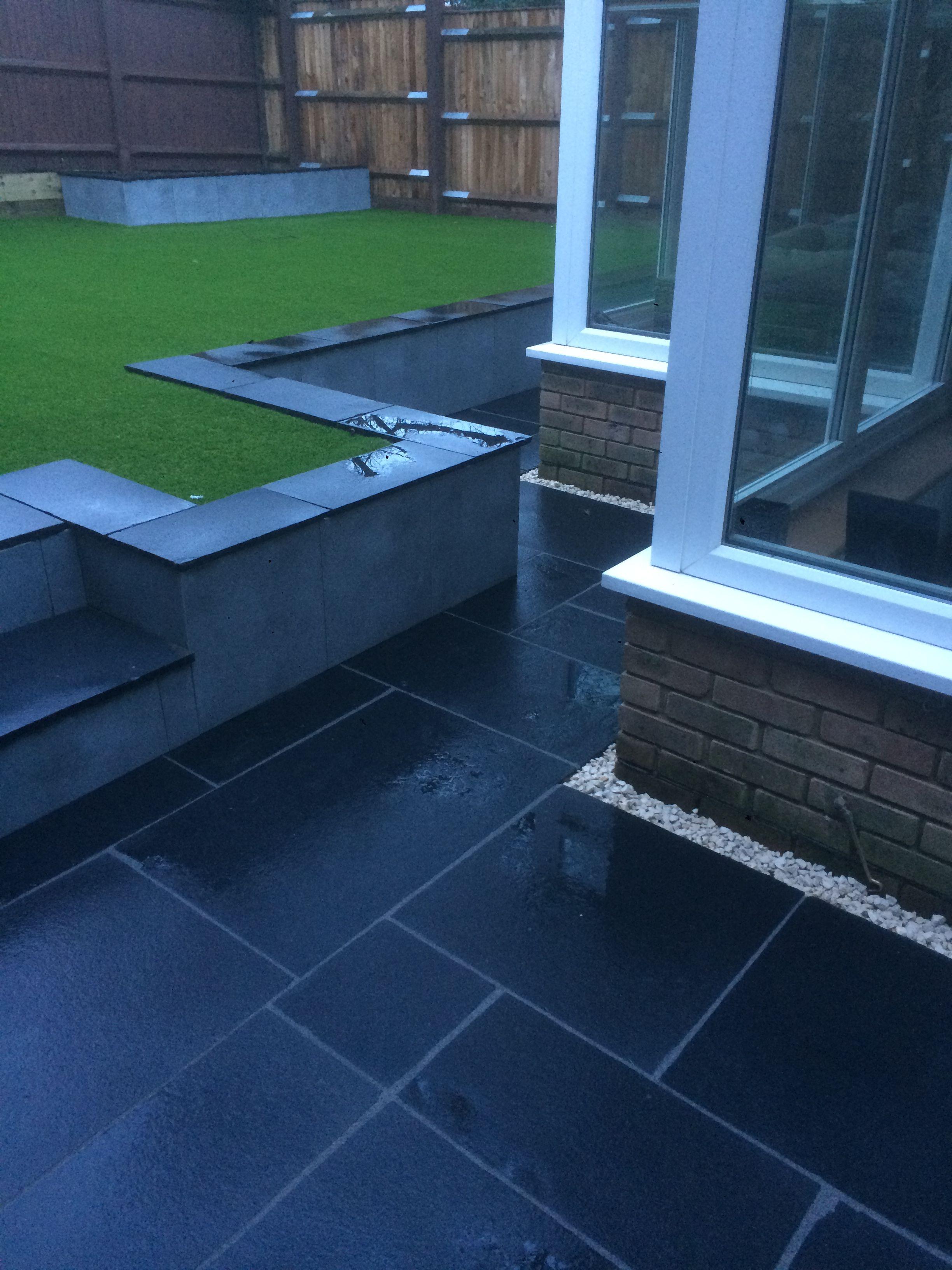Black Stone Patio And Garden Design Ideas For Small To Medium