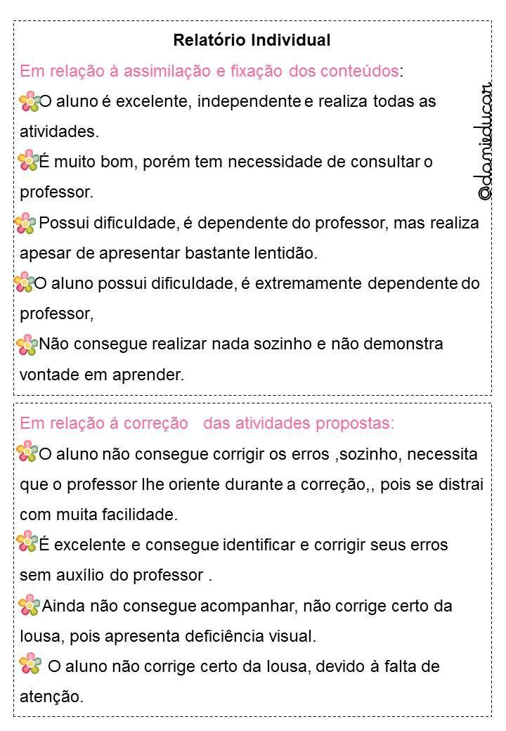 Sugestoes Para Preencher Relatorio De Aluno Relatorios Educacao