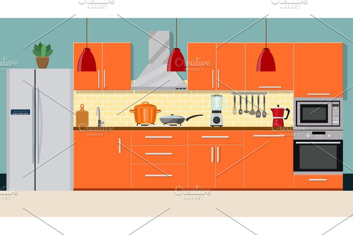 Modern kitchen interior in 4  Modern kitchen interiors
