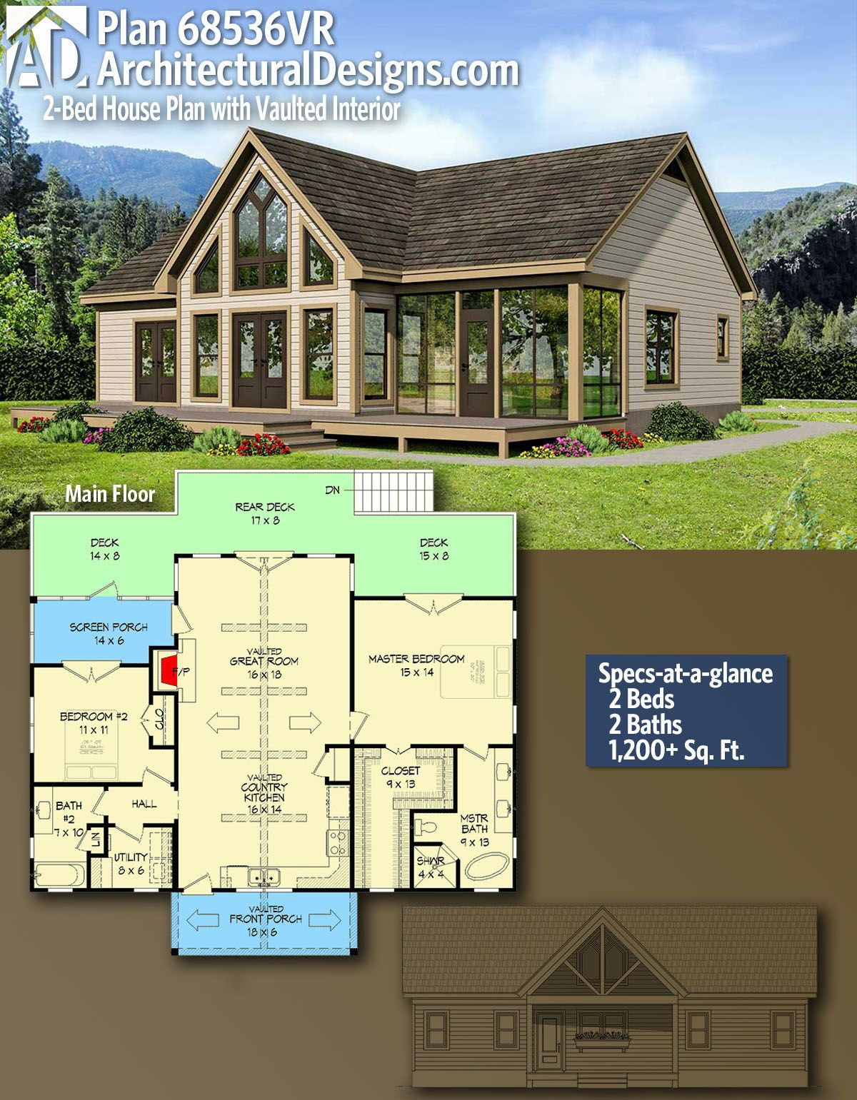 Plan 68536vr 2 Bed House Plan With Vaulted Interior Architectural Design House Plans House Plans Farmhouse Cabin House Plans