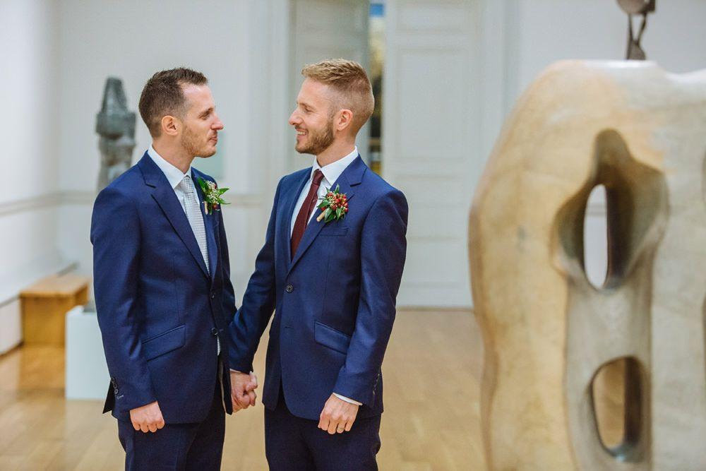 A gay city wedding with bright colour scheme | Bright color ...