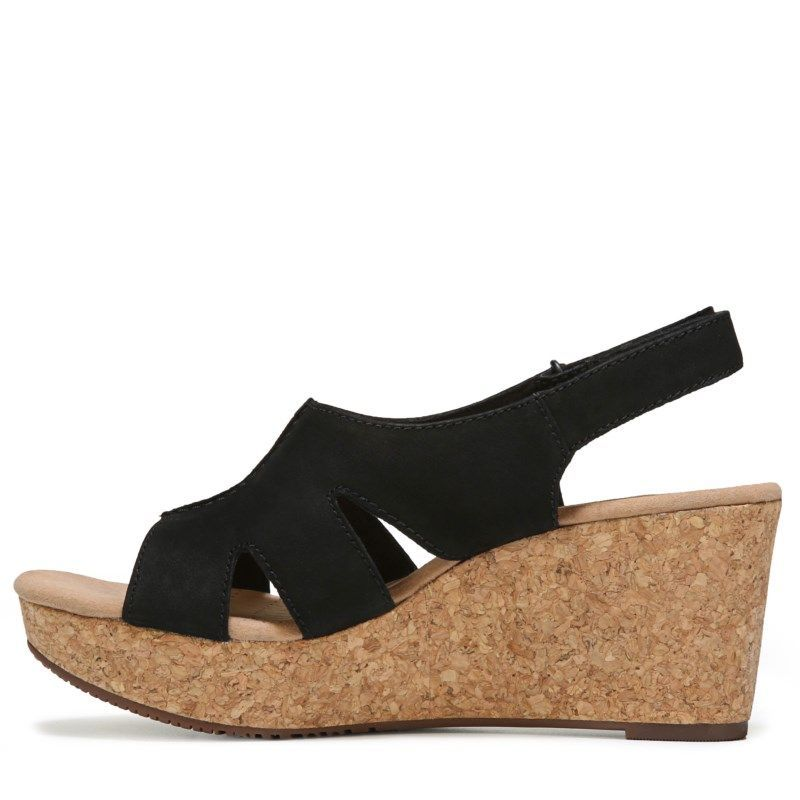 7d3be6bdebf Clarks Women s Annadel Bari Wedge  sandals (Black Nubuck)