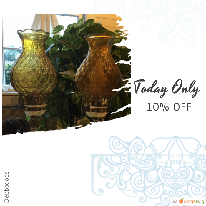 Today Only! 10% OFF this item.  Follow us on Pinterest to be the first to see our exciting Daily Deals. Today's Product: Summer sale Vintage glass lamps Amber and clear Buy now: https://orangetwig.com/shops/AABvwSH/campaigns/AACrrQm?cb=2016006&sn=Debbadoos&ch=pin&crid=AACrrPM&exid=259026651&utm_source=Pinterest&utm_medium=Orangetwig_Marketing&utm_campaign=Summer_sale
