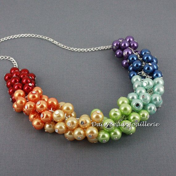 Rainbow Necklace Cluster Necklace Chunky by DaisyBeadzJoaillerie