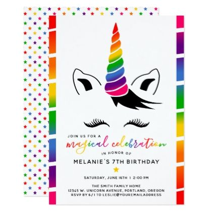 Glam rainbow unicorn birthday party card glam rainbow unicorn birthday party card invitations custom unique diy personalize occasions stopboris Images
