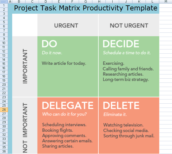 Project Task Matrix Template  Project Management Business