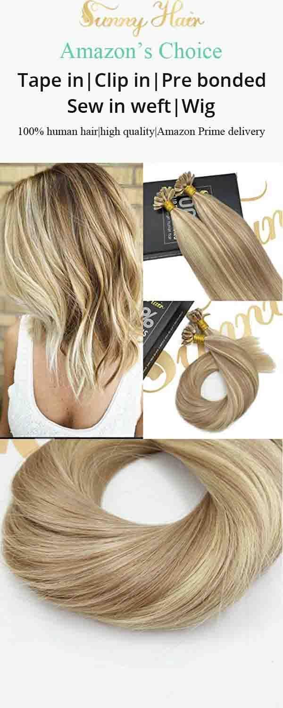 Sunny U Tip Hair Extensions Human Hair Dark Ash Blonde To Bleach