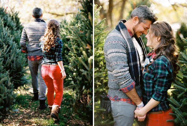 christmas tree farm engagement lee in red plaid and me in red skinnies - Christmas Tree Farming