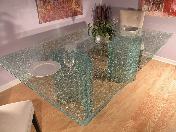 Crackle Glass Table Top