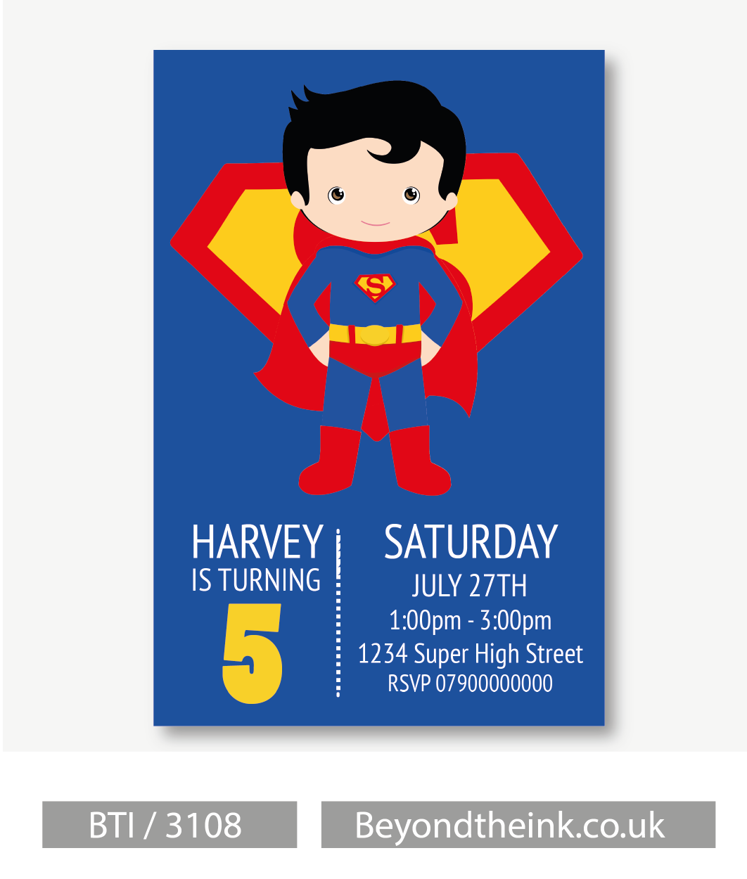 Personalised Superman Invitations. Printed on Professional 300 GSM ...