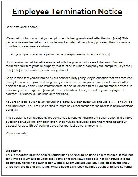 Employee Termination Notice Template sampleformatsorg Pinterest
