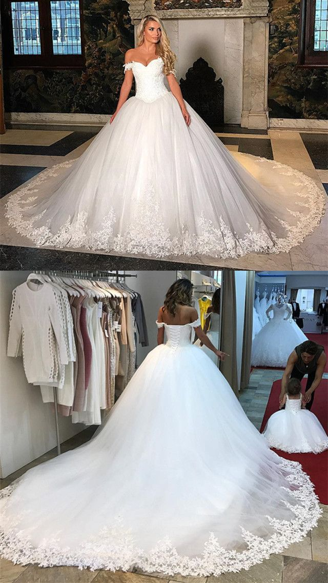 Romantic Wedding Dresses Ball Gowns Sweetheart Off The Shoulder