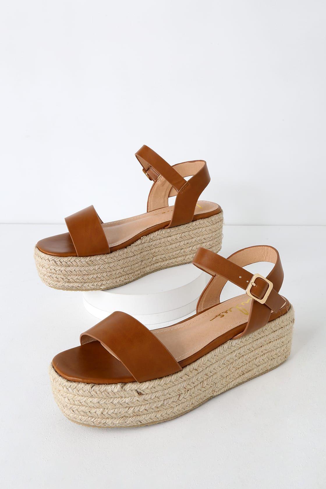 0217483005 Lulus | Corsa Tan Espadrille Flatform Sandals | Size 10 | Vegan ...