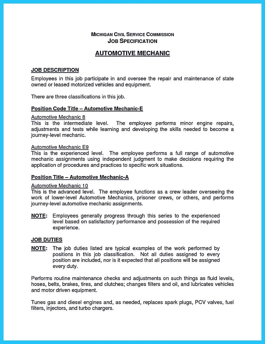Auto Mechanic Resume Sample Fascinating Nice Delivering Your Credentials Effectively On Auto Mechanic Resume .