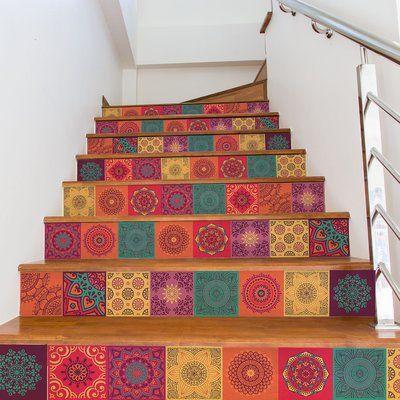 Walplus Mandala Stickers 23 7 W X 35 5 L Pvc Stick Mosaic Tile In Red