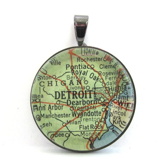 Vintage Map Pendant of Detroit Michigan in by CarpeDiemHandmade, $10.00