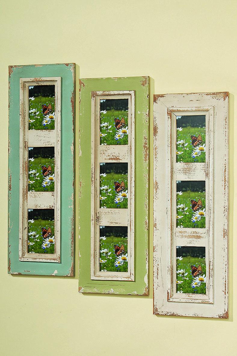 Effektvolle Bilderrahmen Für 3 Fotos In 10x15 Cm Aus Holz (Tanne) In  Antikoptik.