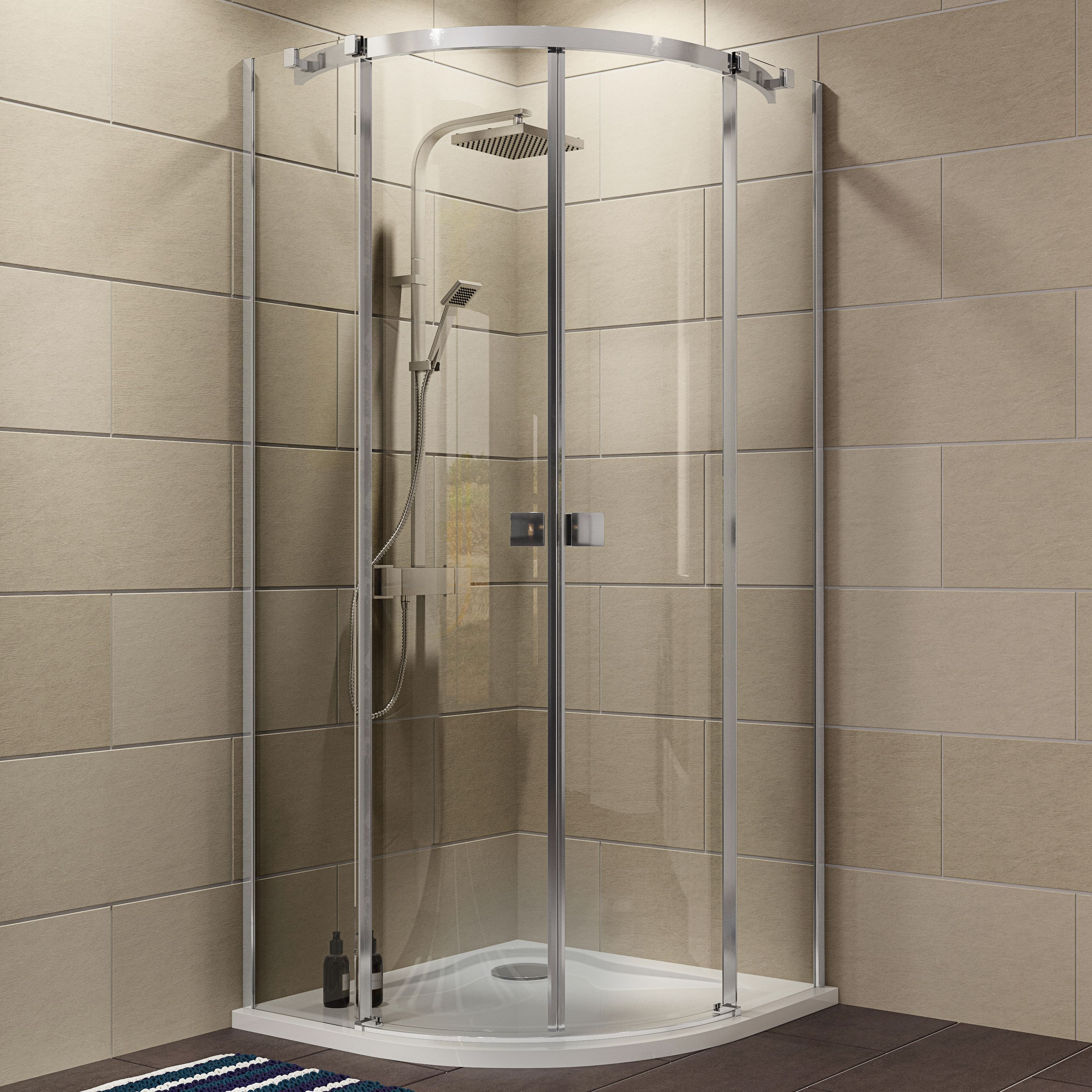 Cooke & Lewis Luxuriant Quadrant Shower enclosure, tray & waste pack ...