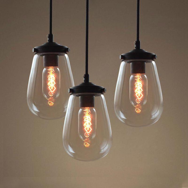 3 Vintage pendelleuchten eisen glas hängelampe E27 110\/220 V - pendelleuchten f r wohnzimmer