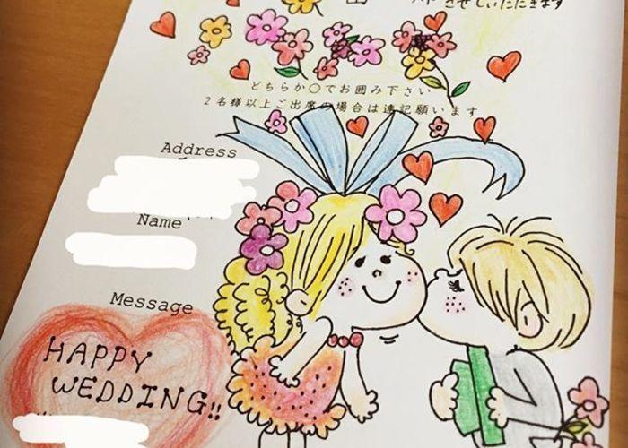 可愛いキャラクターの招待状返信アートまとめ 結婚式 招待状 結婚式 招待状 返信 イラスト 結婚式 招待状 返信