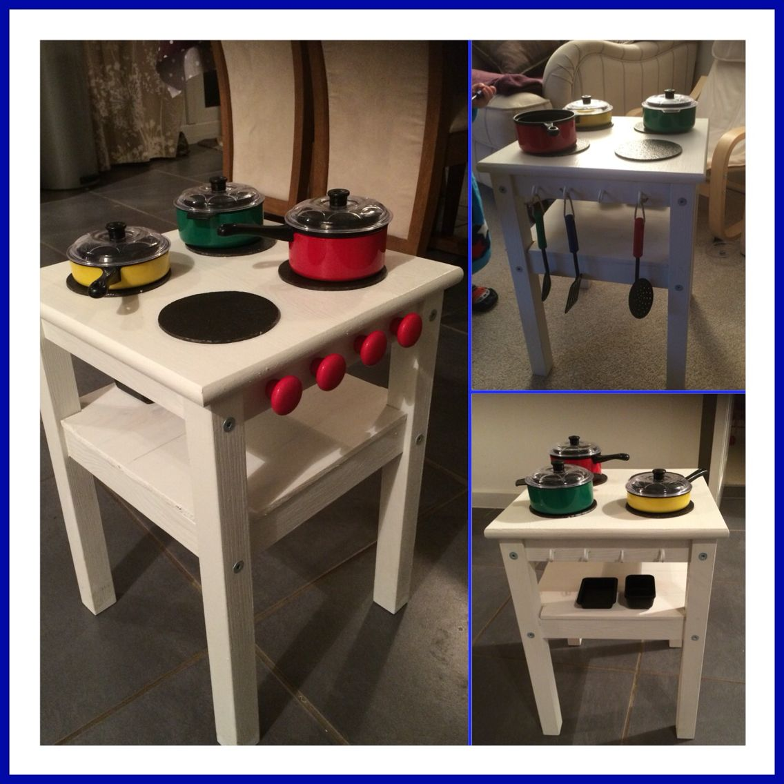 Play kitchen for our toddler made from a £7 IKEA oddvar stool