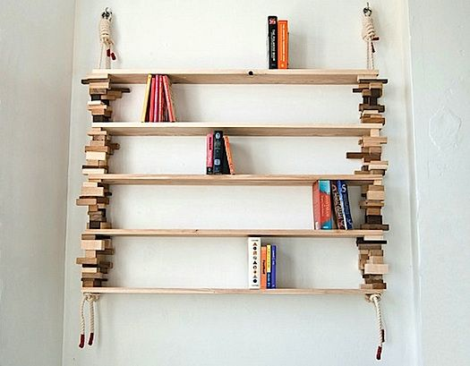 cool d-i-y rope and stacked block shelves - improvised life | wood