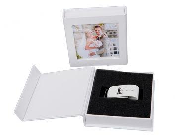 Hochzeit USBStick 32GB mit USBBox Kunstleder Weiss