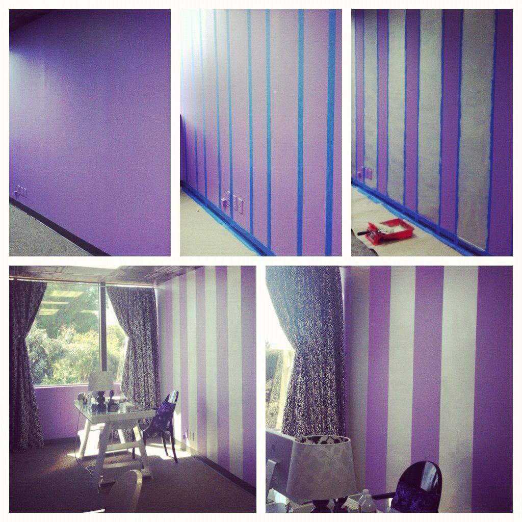 Diy Painting Stripes On A Wall Super Easy Chic Office Silver Over Bright Purple Paint Loveeeeeee Itttttt