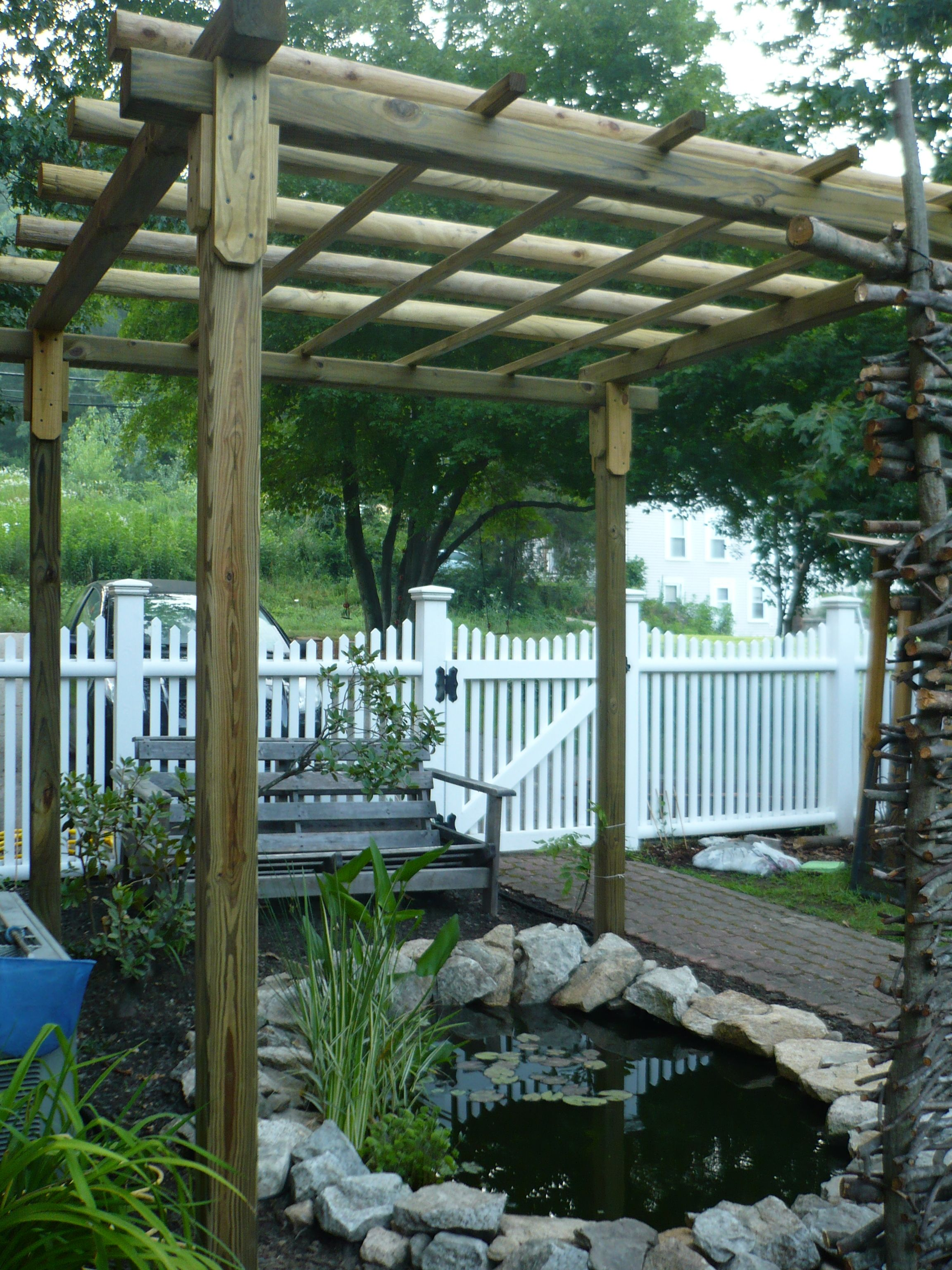 Pergola I decided to build a pergola over the pond Hoping this