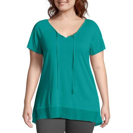 Just My Size - Just My Size Women's Plus-Size Chiffon Trim Tunic - Walmart.com