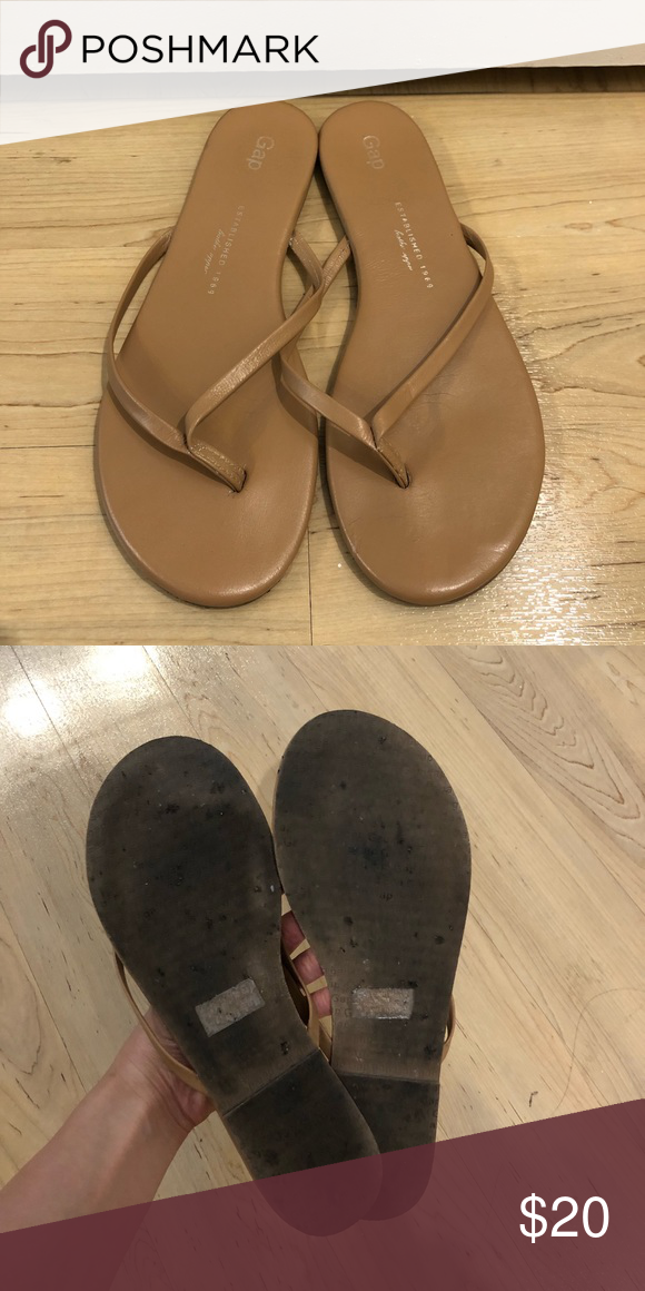 9494eb3316bf Gap Nude Leather Flip Flops Leather flip flops with cushy padded soles. In  great condition. GAP Shoes Sandals