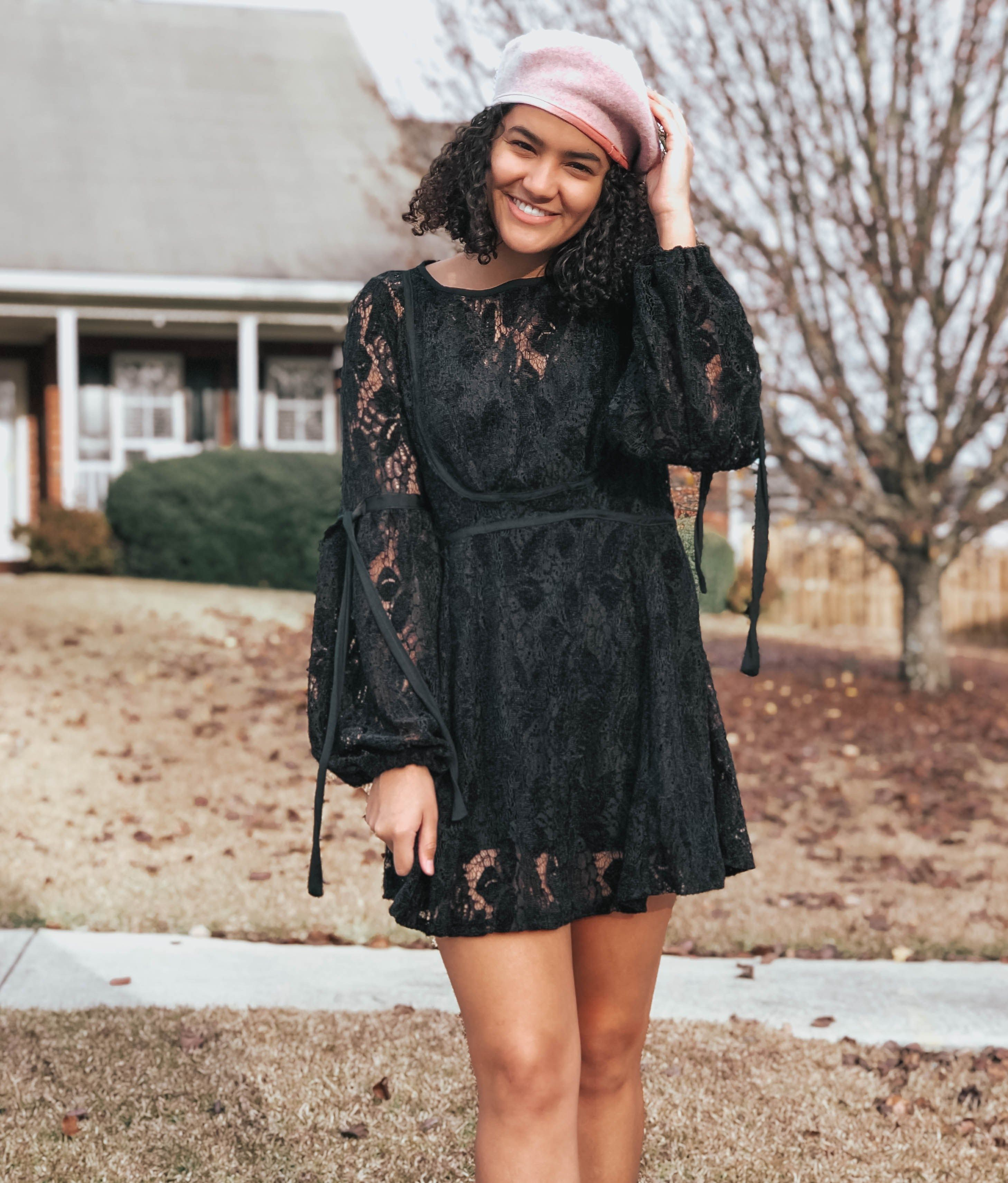 Sequins And Sales A Fashion Lifestyle And Travel Blog Sequins And Sales Outfits With Hats Black Lace Dress Outfit Lace Dress With Sleeves [ 3421 x 2916 Pixel ]