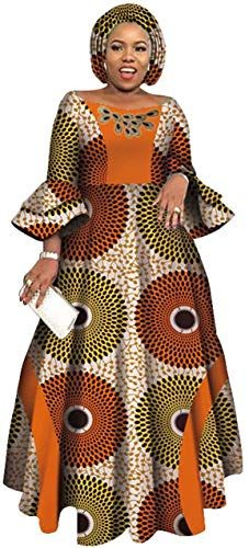 Enjoy exclusive for BintaRealWax Womens Party Maxi Dress Double Layered Bell Sleeve Dress & Headwrap online - Stargreatshopping